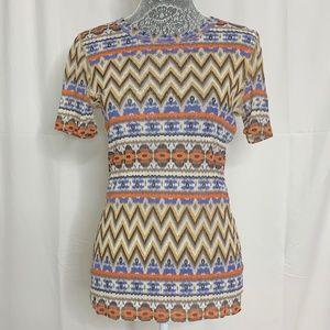 Karen Kane Tan Coral Aztec Print Sheer Mesh Shirt
